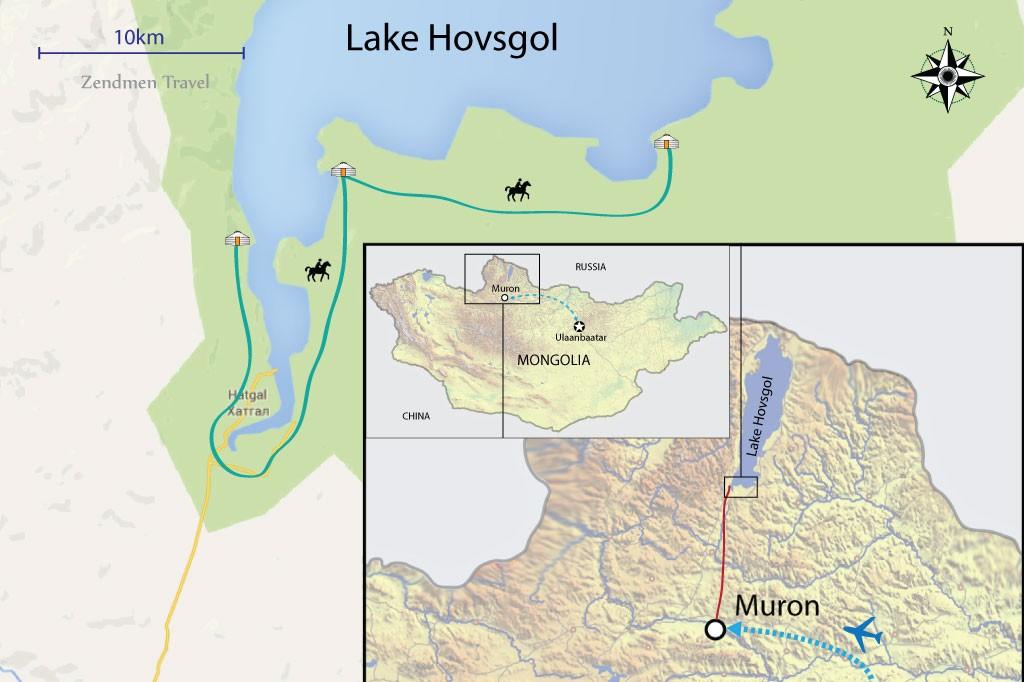 map of horse riding trip at Lake Hovsgol
