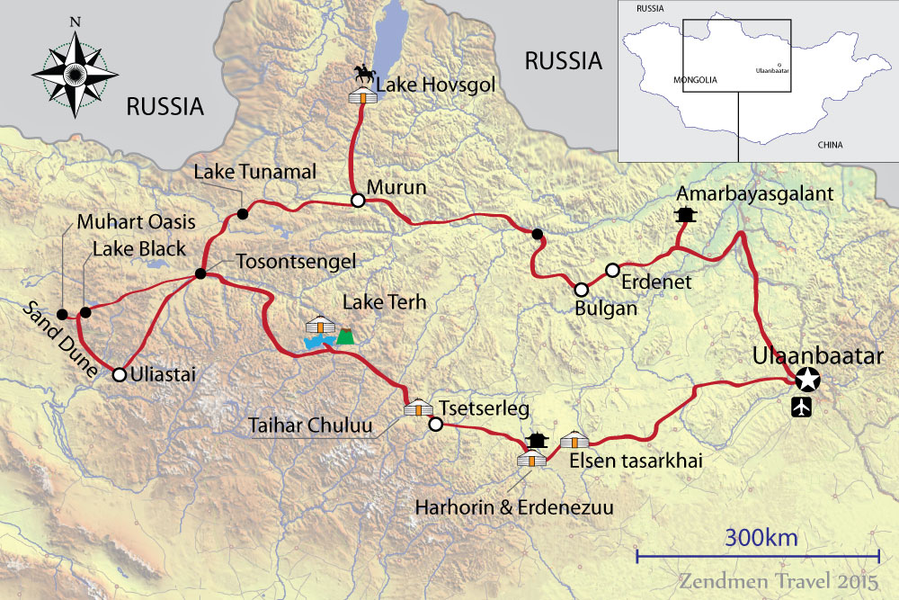 Map of Northern Mongolia Trip