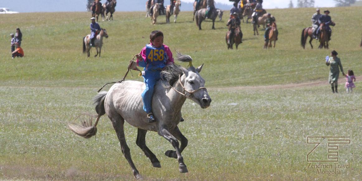 A boy attending horse race in Hatgal town, Hovsgol province