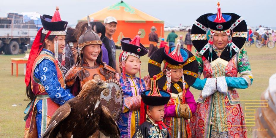Mongolian kids at Naadam Festival