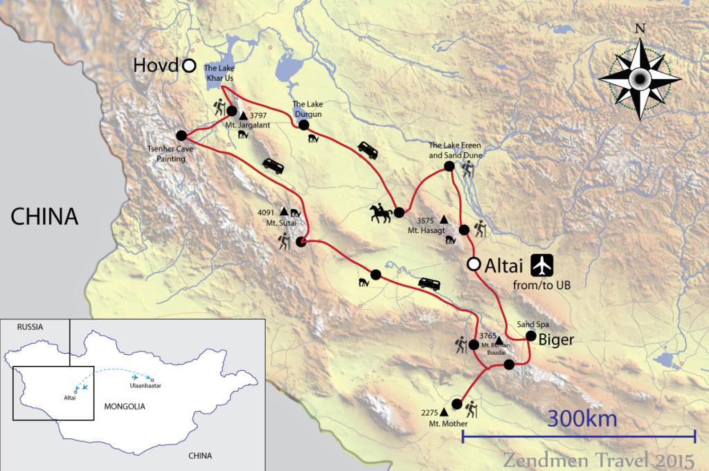 Map Altai Trekking