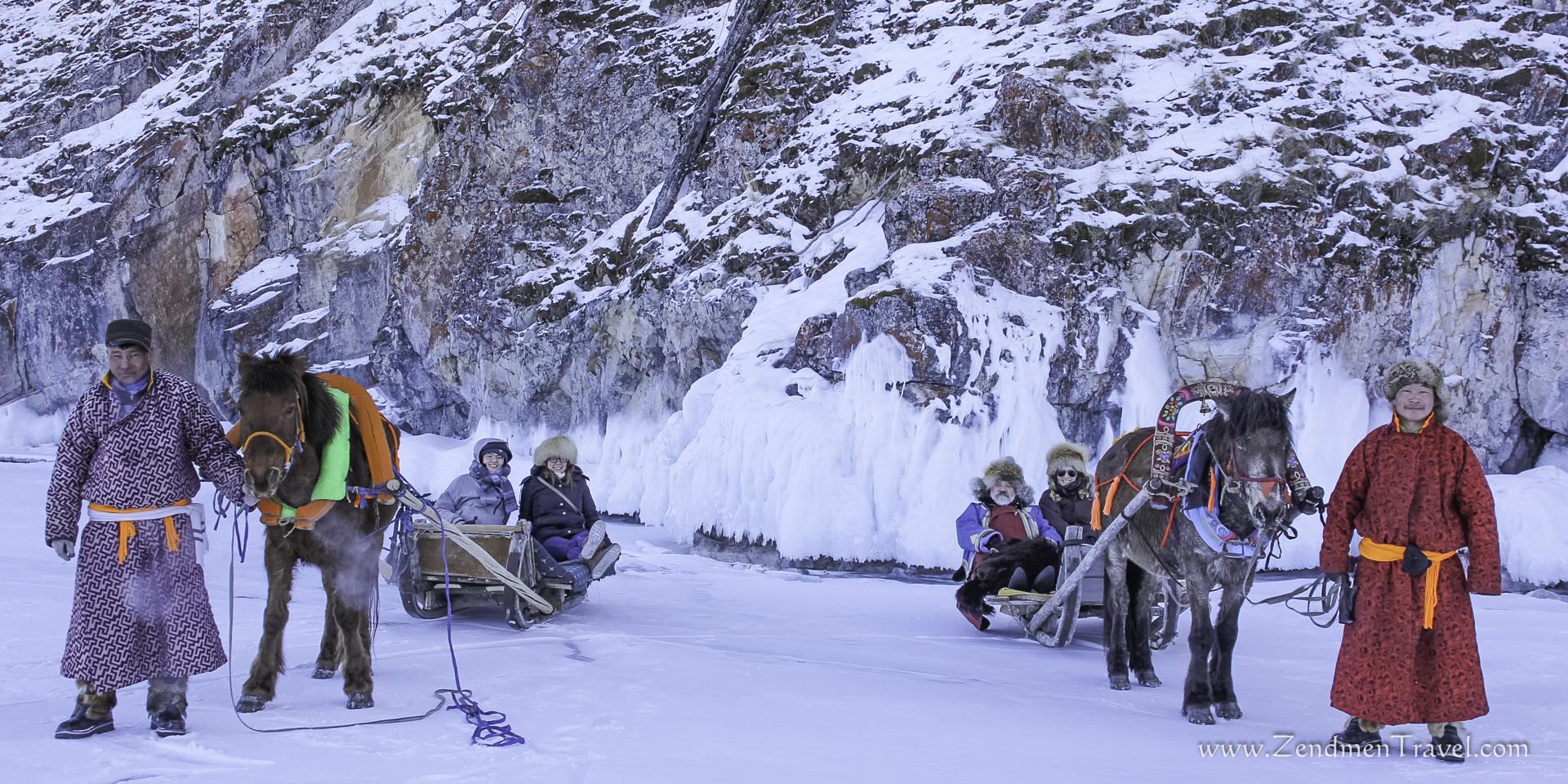 Ride a horse sleigh on Khuvsgul lake