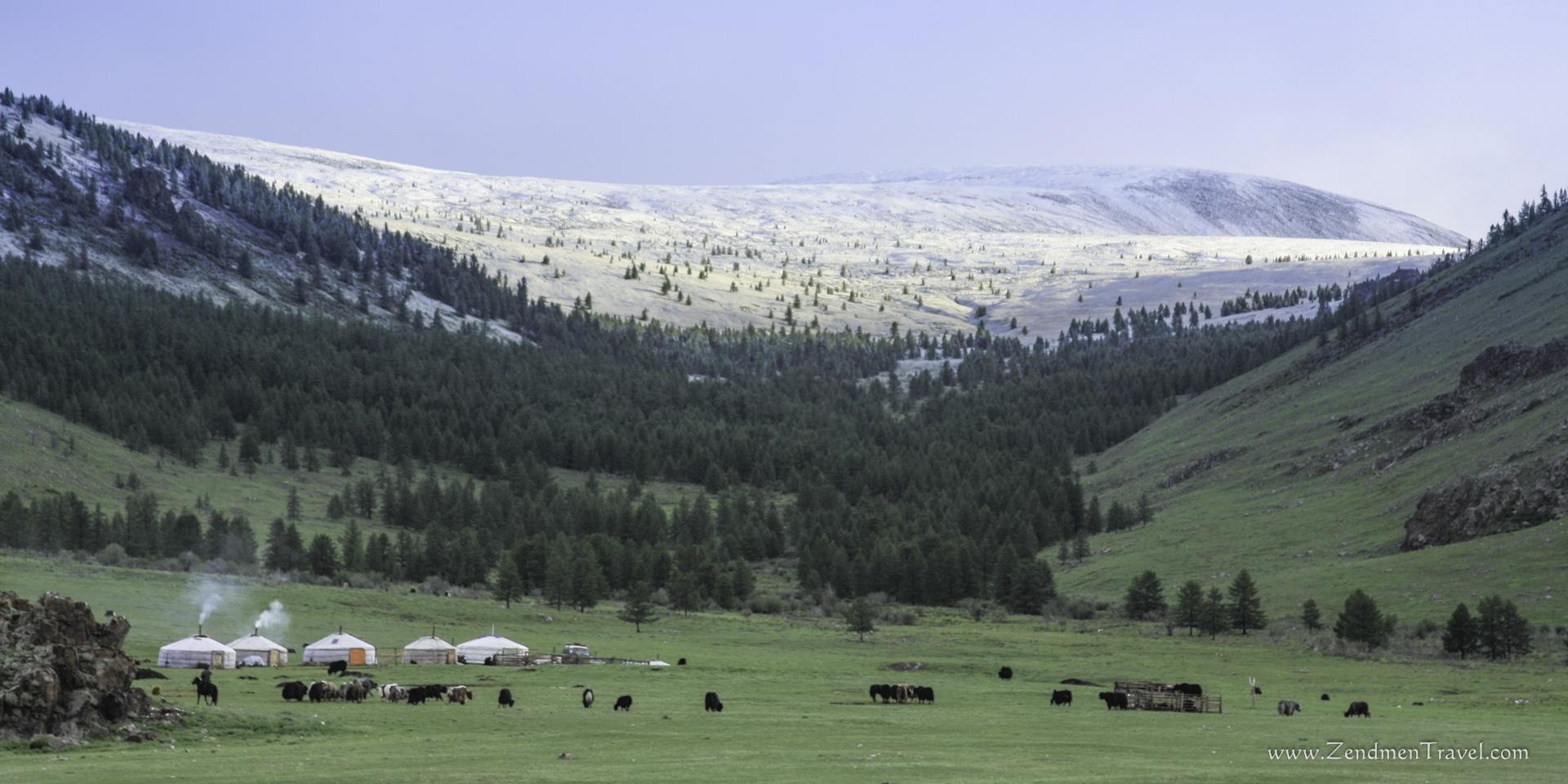 Snows in the mountains of Khangai mountains