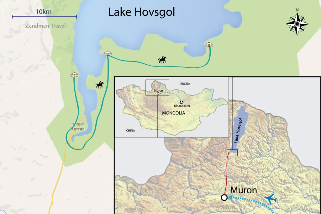 map of horse riding trip at Lake Hovsgol