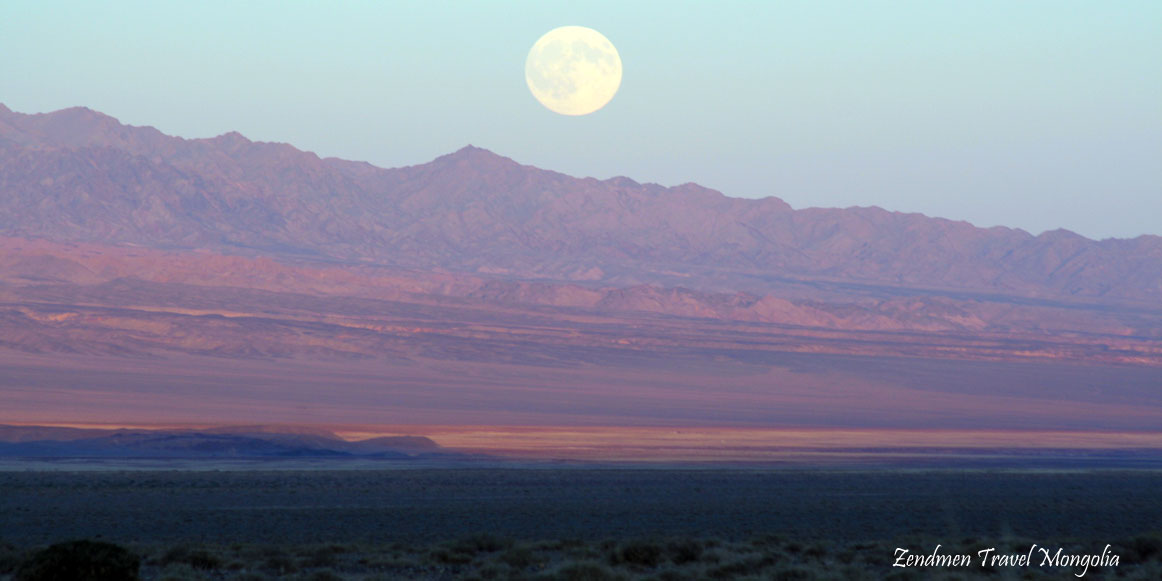 Full moon in Biger Valley, Gobi-Altai province