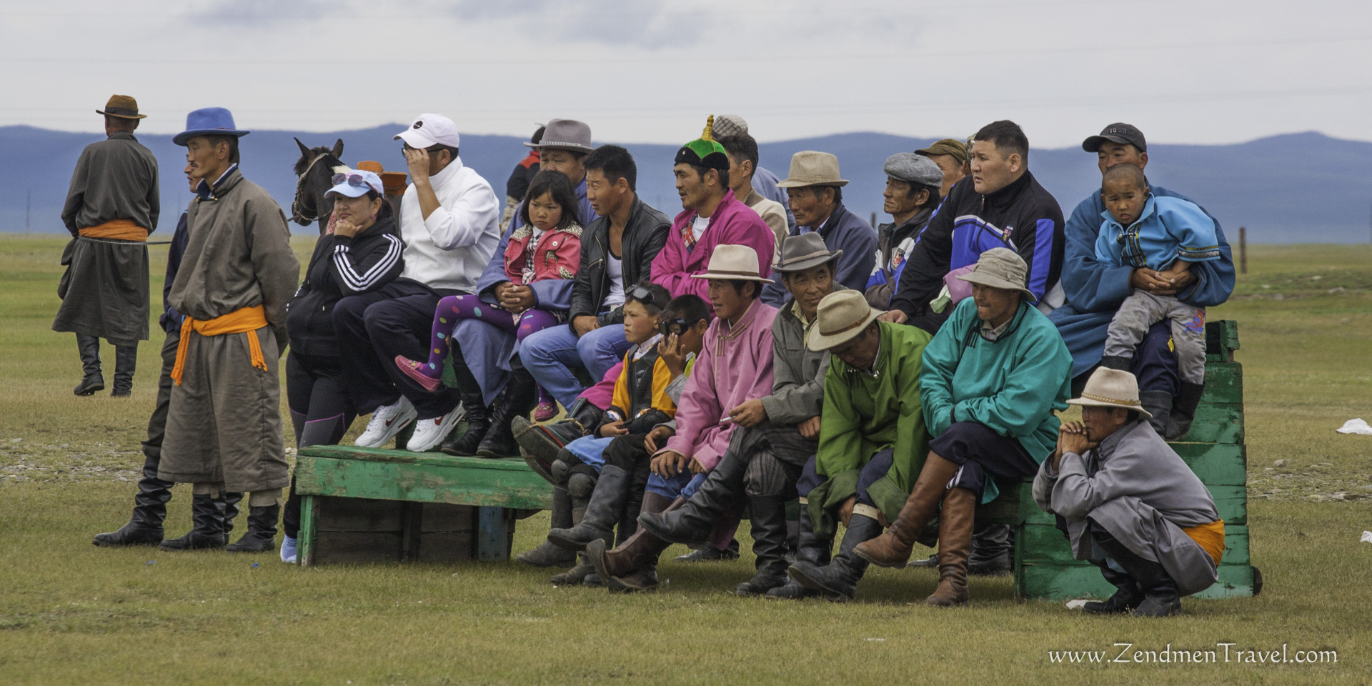Locals watching Mongolian wrestling