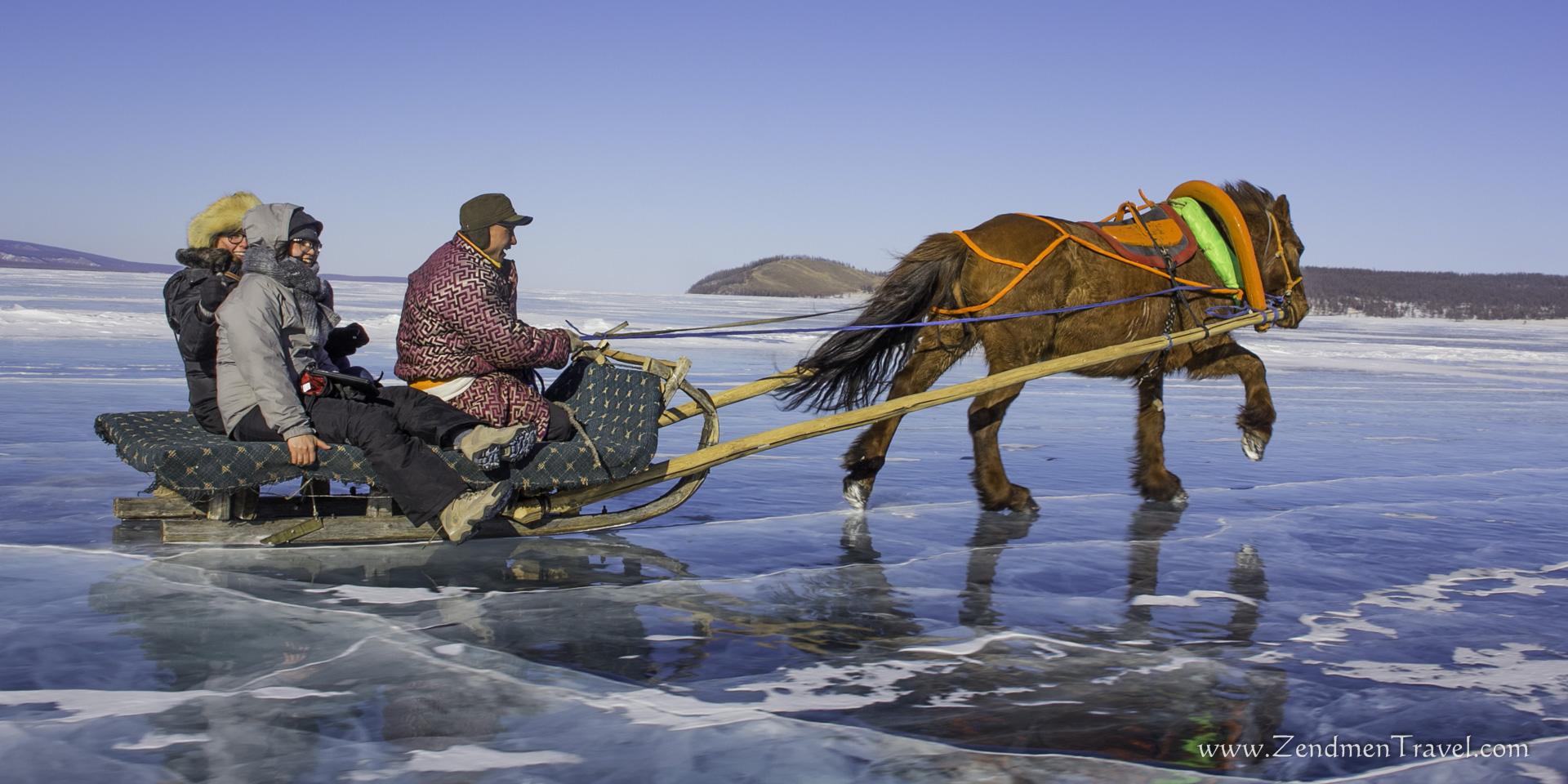 One Horse Open Sleigh Zendmen Travel Mongolia